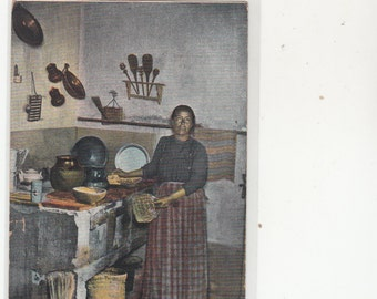 1908 PM Antique Postcard Mexican Woman In Her Kitchen,Authentic