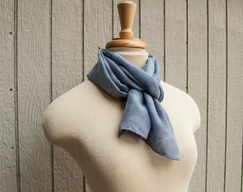 Blue Silk & Wool Blend Scarf - Hand Dyed Silk/Wool Scarf - 11x60