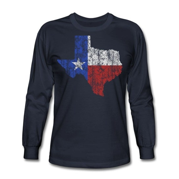 Men 39 s texas lone star long sleeve t shirt dallas fort for T shirt printing fort worth