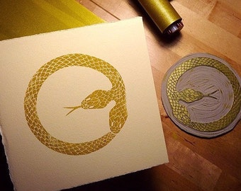 "6"" x 6"" Two Headed Ouroboros Handmade Print"