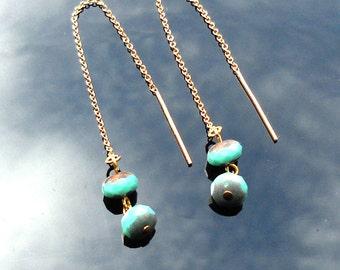 Gold Threader Earrings, Gold Dangle Earrings, Gold Ear Thread Earrings, Turquoise Earrings, Ear Chain Earrings,  Glass Bead Gold Ear Threads