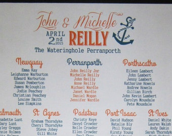 Huge Wedding seating plan, personalised, hand painted on wooden board, nautical style sign, shabby chic plaque