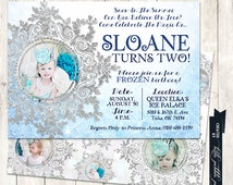 Frozen Birthday Party Invitation, Chic, Classy, Elegant Frozen Invite, Winter Wonderland, Snow, Ice, Snowflake, Princess Anna, Princess Elsa