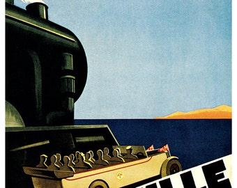 Vintage French Travel Poster, Marseille, Point de Depart de la Cote D'Azure, France