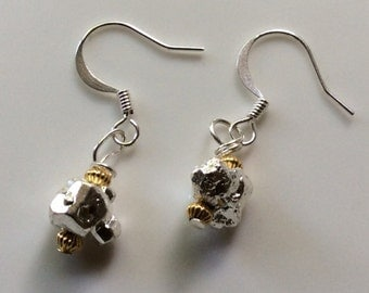 925 silver raw stone pyrite and gold vermeil earrings, wedding earrings, ladies gift