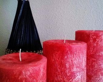 Crystallizing Orange Pillar Candles