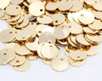 6mm Gold Plated Stamped Disc , Coin Disc, Stamped, Personalized Coins, DOM48
