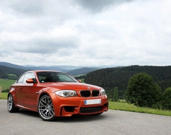 Poster of BMW 1M 1-Series Orange Right Front HD Print