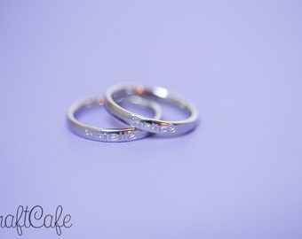 Hand Stamped Simple Single Name Mother's Ring - Set of Two - Stainless Steel Stacking Ring - 3mm - Hand Stamped Jewelry