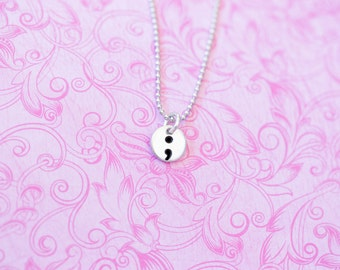 Inspirational Semicolon Project Necklace - Semicolon Pendant - My Story Isn't Over Yet ;  - Semicolon Project