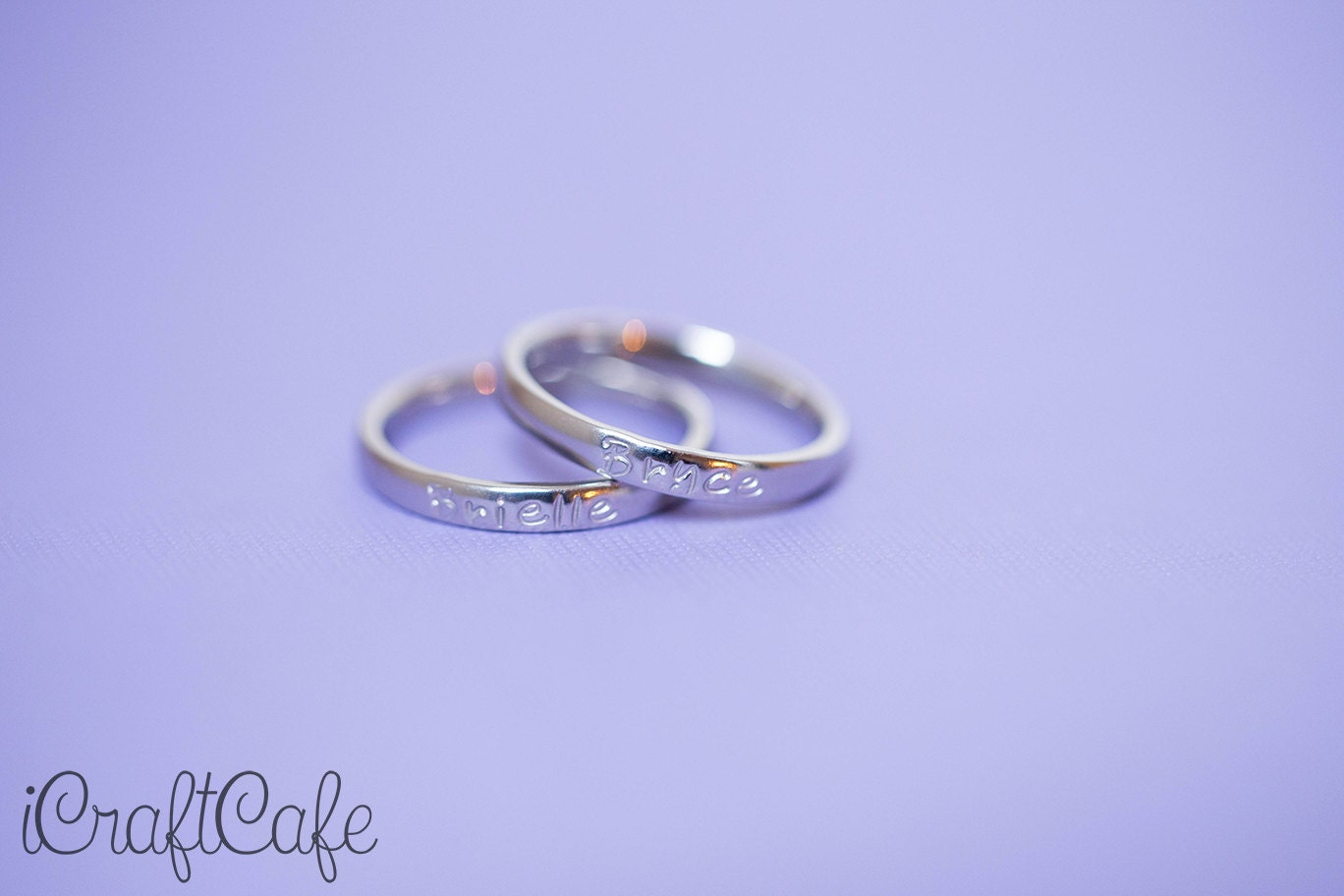 Hand Stamped Simple Single Name Mother's Ring Set of Two