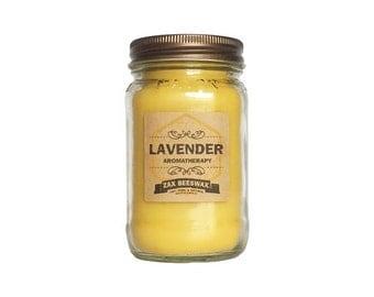 16oz Lavender Essential Oil Beeswax Mason Jar Candle | 16 oz