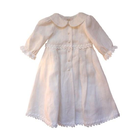 Linen Dress White Baptism Dress Baby Girl Linen Dress