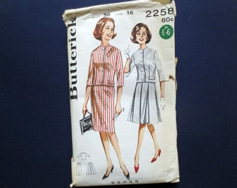 1960s Jacket with Slim Skirt & Box Pleated Skirt Vintage Pattern, Butterick 2258, Size 16, Bust 36