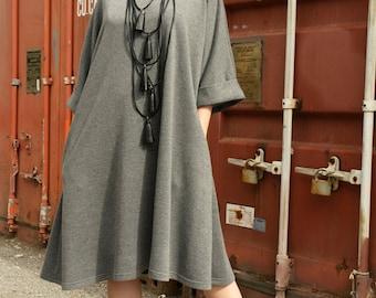 Grey Maxi Dress / Casual Midi Dress / Loose Tunic Top / Plus Size Grey Dress / Extravagant Tunic by METAMORPHOZA