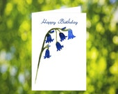 Bluebell Birthday Card Download: Watercolor Blue Bell Flower Birthday Card - Digital Download - Downloadable Card - Birthday Card for Her