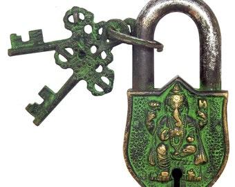 Ganesh Small Hindu Padlock Lock & Key: Antique Finish