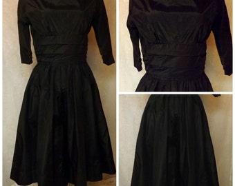 50s Jonathan Logan Black Rockabilly Swing Dress Size M 10 - 12