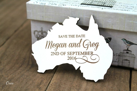 Wedding save the date magnets, set of 30 wood magnet save the date by Oxee, country shape