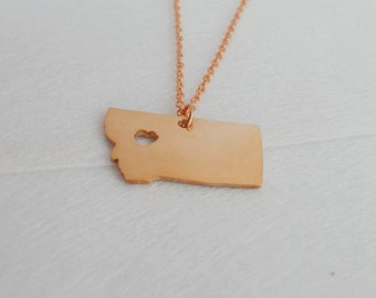 Montana Necklace Rose Gold,Montana State Necklace,Montana State Love Necklace ,Personalized Montana State Jewelry  with A Heart