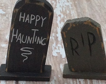 Two miniature carved wood tombstones  |RIP| Happy Haunting |Halloween | cake topper| Haunted house| graveyard |cemetery| fairy garden