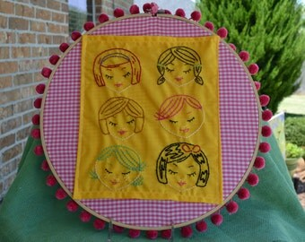 Cute Little Heads Embroidered Wall Art