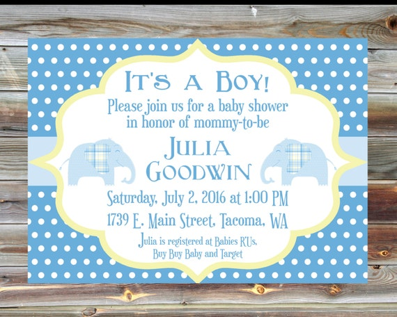 custom color boy baby shower invitation elephant theme baby shower
