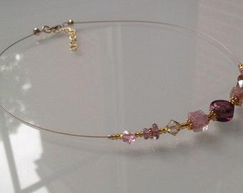 Venetian Necklace. Murano Glass Jewelry Pink Mauve in Gold Murano Glass Necklace Italian Jewelry Collier Bijoux Délicat Italien Rose Or Doré