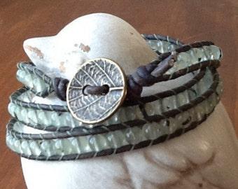 Prehnite on Grey Leather 3 Wrap Bracelet