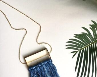 Indigo Dyed Fiber Fringe Necklace with Brass Fixture