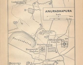 1909 Anuradhapura Sri Lanka Antique Map