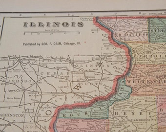 1901 Illinois Antique Map