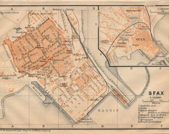 1911 Sfax Tunisia Antique Map