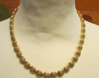 1970s/80s gold-tone heart-shape linked necklace & matching bracelet set, demi parure