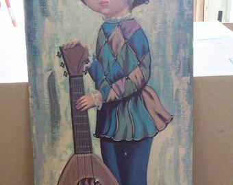 Eden Big Eyes Harlequin Girl, 1960s, Paper on Fiberboard, Large