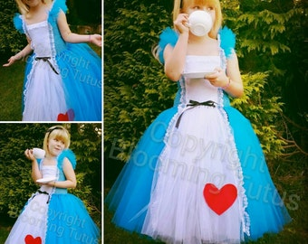 Alice in Wonderland Inspired Handmade Tutu Dress - Birthday, Party, Photo Prop, Pageant