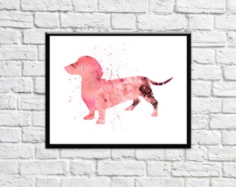 Dachshund Art  Dachshund Gift Dachshund Print Dachshund Watercolor Dachshund Watercolour Dachshund Wall Print