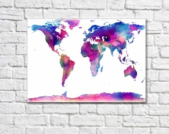 Canvas World Map Print World Map Canvas World Map Wall Art Custom Quote Map Prints Large World Map Large Canvas Prints