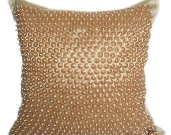 Beaded Pillow Beige Ivory Beaded Pillow 18X18 Beaded Pillow Beaded Cushion Beaded Decorative Pillow Beaded Accent Pillow Beaded Throw Pillow