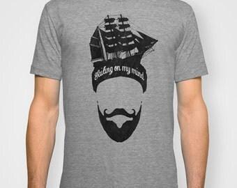 Beard T-shirt, Nautical T shirt, Screen print tee, Vintage T-shirt, Graphic t-shirt, Sailing T-Shirt, Tall Ship T-Shirt, Signal Whiskey.