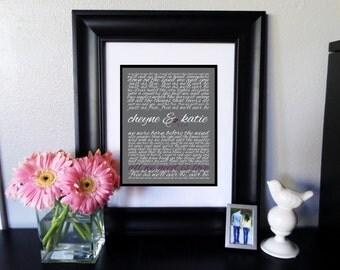 Custom PRINTABLE Wedding Song Lyrics/Wedding Vows Digital Art Print