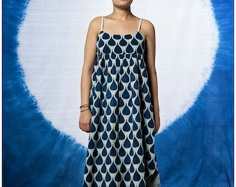 Tear Drop Hand Block Printed String Dress