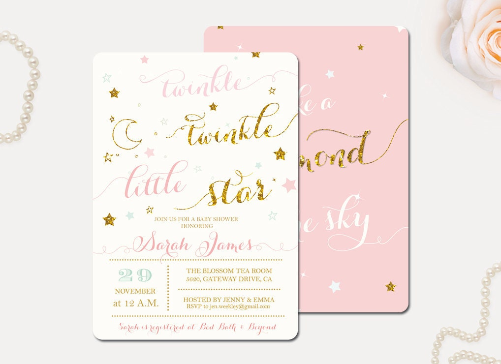 It's just an image of Stupendous Free Printable Twinkle Twinkle Little Star Baby Shower Invitations