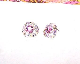 Sale - Pink Crystal Earrings - Blush Crystal Earrings - SALE / Pastel Crystal Earrings - Glamour / Formal / Bridal / Wedding
