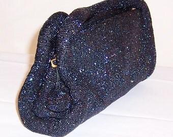 1940's Midnight Blue Glass Beaded Handbag with Double Handles