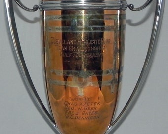 Spectacular Very Large 1916 Cleveland Athletic Club Mixed Metal Golf 2 Handled Trophy