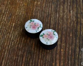 "Pair plugs flowers rose image ear wood gauges 4,5,6,8,10,12,14,16,18,20-60mm;6g,4g,2g,0g,00g;1/4,5/16,3/8,1/2,9/16,5/8,3/4,7/8,1 1/4,1 9/16"""