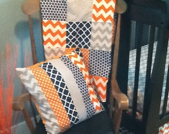 Patchwork Baby Blanket, Navy Blue, Orange and Gray, Chevron, Polka Dot & Geometric Design Squares, Minky Backed, Made to Order