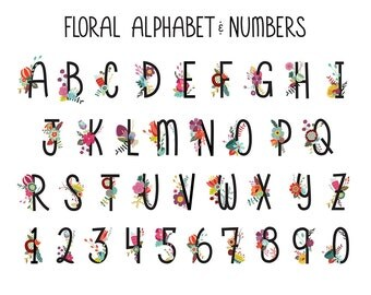 Floral Alphabet and Numbers Clip Art - Set of 36 300 DPI X-Large Vintage, Colorful Design Elements - Vector, PNG and JPG Files