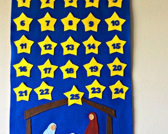 CLOSE OUT SALE -Nativity Advent Calendar with felt pocket yellow stars and kid's activity scrolls